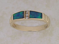 Inlaid Opal Ring With Diamonds IR02